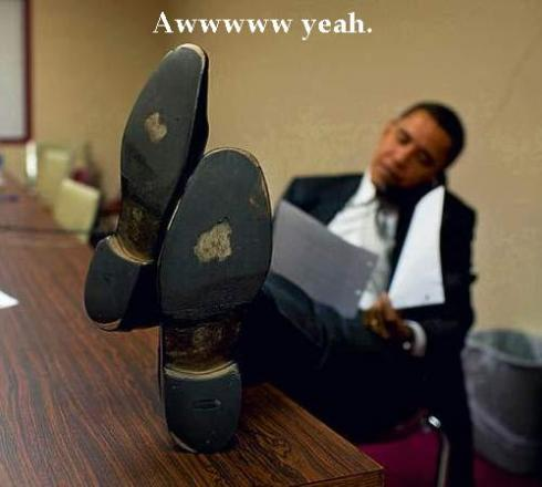 barack obama feet up