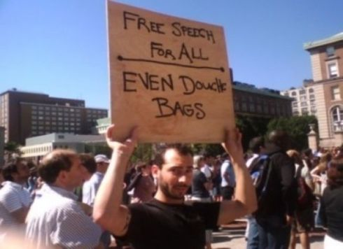 free speech protest sign