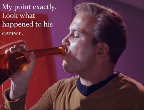 evil kirk drinking