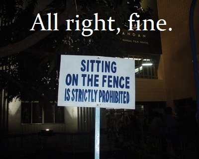 sitting on fence